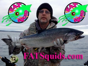 mini FAT Squids catch Chinook salmon