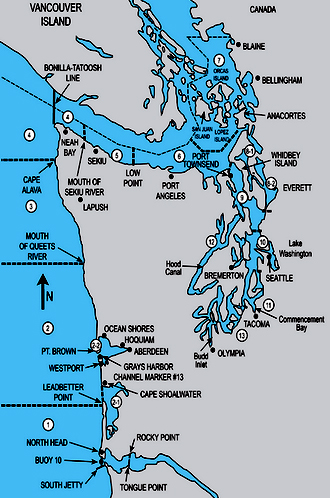 WDFW Marine Area Map